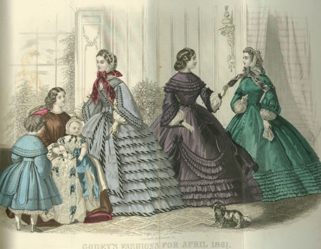 Typical 19th century hoop skirts | Public domain, via WikimediaCommons