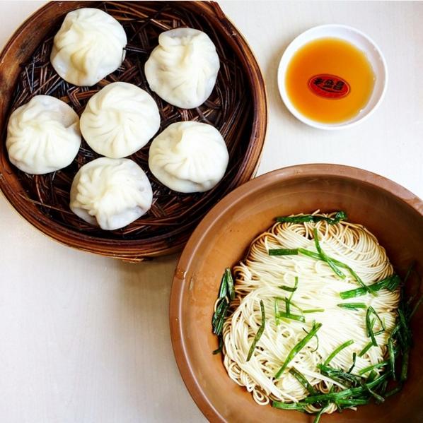 Soup dumplings and scallion oil noodles