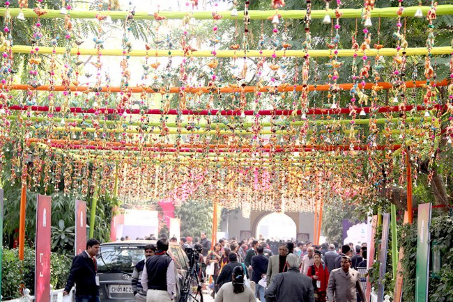 Diggi Palace grounds all decked up for the Jaipur Literature Festival © ZEE Jaipur Literature Festival