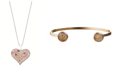 Dune Jewelry Heart of Sand Necklace and Inlet Cuff - Gold. Photo Credit: Dune Jewelry