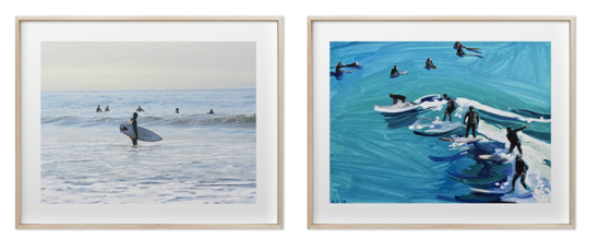 Annie Seaton's Early Morning Surfer and Surfers at Sunset. Photo Credit: Minted