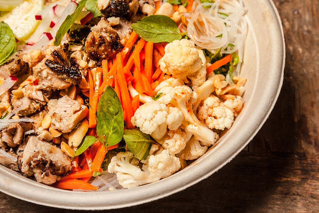 Vietnamese Chicken Salad with Lemongrass chicken and mung bean noodles ...