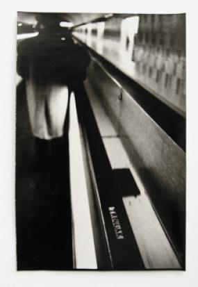 Goran Trbuljak, Untitled (Trbuljak – Artist) II, Series of six B&W photographs, each 30 x 45 cm, unique, 1973/Courtesy of Galerija Gregor Podnar