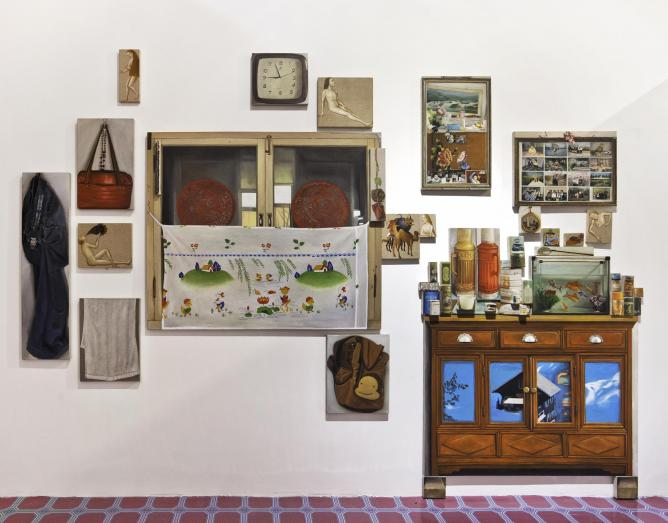 Dong Yuan, Grandma's House and Bosch's Garden, installation view, oil on separate canvases. | Courtesy of the artist