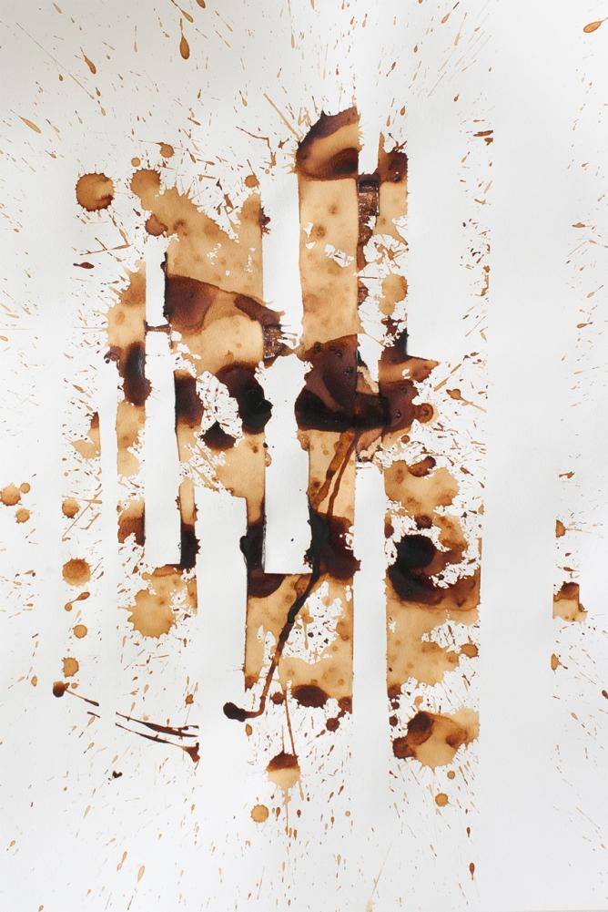 Coffee on paper, 59x4x42 cm, 2014. Courtesy of Ibi Ibrahim