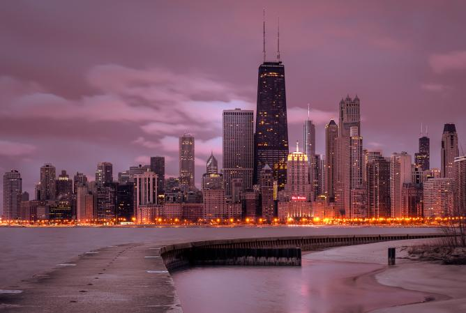 Chicago skyline at sunrise © Dave Wilson
