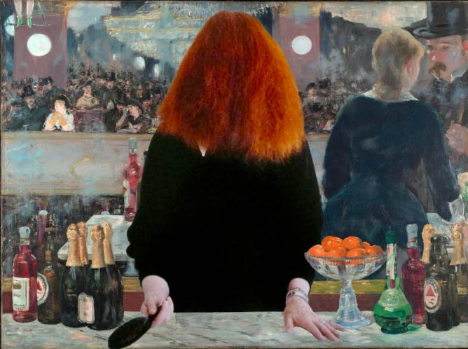 Ubicouture's collage of Grace Coddington for Tim Walker and a bar at the Folies-Bergere by Manet