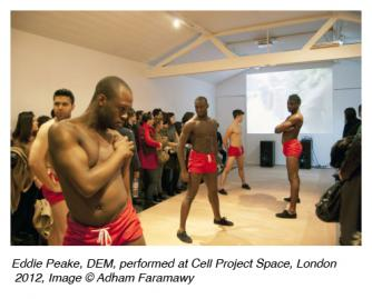 Eddie Peake, DEM, performed at Cell Project Space, London 2012, Image  © Adham Faramawy