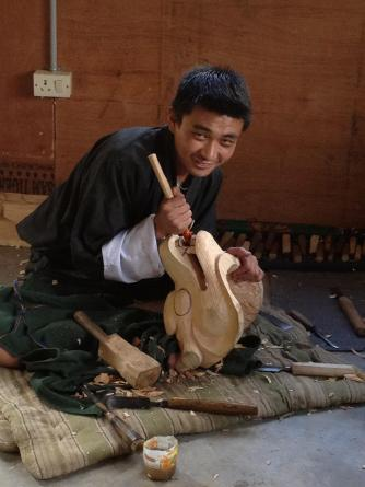 Bhutan wood carving