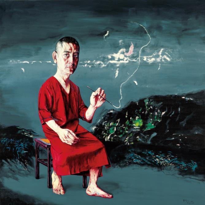 Zeng Fanzhi, Self-Portrait 09-8-1, Oil on canvas, 200 x 200 cm, 2009.