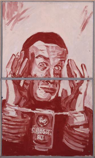 Martin Kippenberger, Alkoholfolter (aus dem 15-teiligen Werk Vom Einfachsten nach Hause), Öl auf Leinwand, 2 Teile, je 50 x 60 cm, 1981/82/© Estate Martin Kippenberger, Galerie Gisela Capitain, Köln