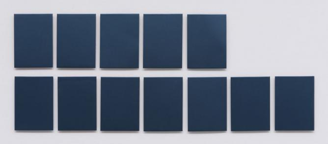 P.P. Monochrome. 12 monochromes cut out of pieces of metal from the bodywork of the Citroen Grand Picasso, 18 x 13 cm each, 2011