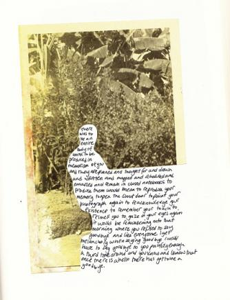 Untitled, found photograph and poetry on moleskin journal, 2012