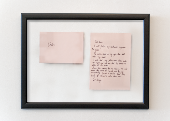 From Internet with Love (Order), handwritten letters, framed, 2013
