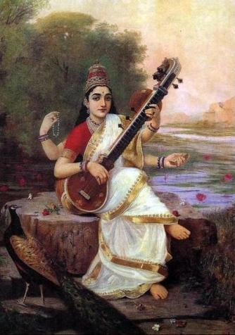 Painting of the Goddess Saraswati by Raja Ravi Varma