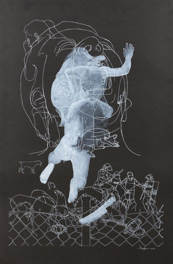 Anisuzzaman Sohel, Leap across time-1, Medium: pen, acrylic and graffiti on paper, Size: 20x30 | Courtesy the Artist and The Guild