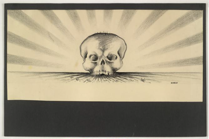 Drawing of a large skeleton head against a Japanese sun-flag, with small figures drowning; Amsterdam; 1930-38; Jack Chen; Copyright of The Trustees of the British Museum