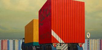 Jeffrey Smart, Truck and trailer approaching a city 1973