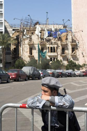 A Ministry of the Interior soldier guarding the site of the attack that killed former Prime Minister Hariri.