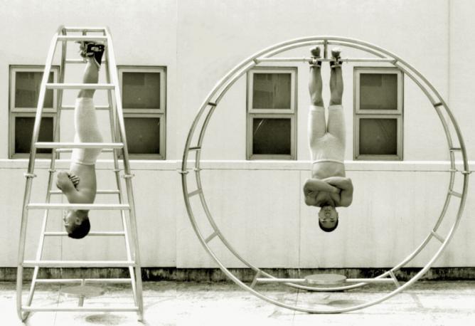Ho Siu Kee, 'Gravity Hoop', 1996, Steel sculpture, 240x240x90cm; Photograph, digital output 90x120cm   © Ho Siu-kee