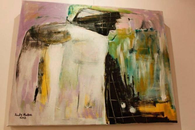 Kady Mattar, Shove 2, mixed media on canvas