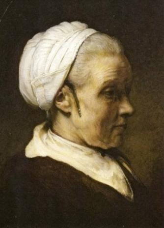 Rembrandt van Rijn, Study of an Elderly Woman in a White Cap c. 1940