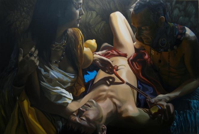 Celia Ko, 'Curious Fruits', oil on canvas, 122 x 183 cm. Image courtesy of the artist.