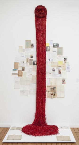 Red Tree Paper, Paper, 1 book and mixed found paper, 178 x 90cm, 2013 | © Jonathan Greet, courtesy October Gallery London