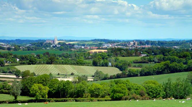 View over Armagh city, the tall spires of St. Patrick's Catholic cathedral dominates the skyline