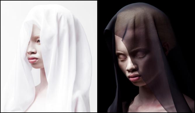 Left: Justin Dingwall/Thando Hopa, Untitled (White Veil), 2013; Right: Justin Dingwall/Thando Hopa, Untitled (Black Veil) | Courtesy MIA Gallery