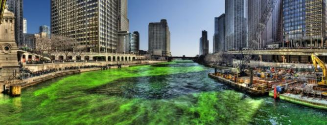 Green Chicago River on Saint Patricks Day