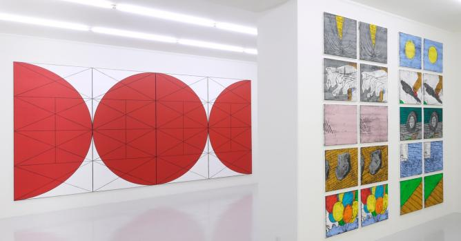 Installation view Matt Mullican, Mai 36 Galerie, Zurich, Switzerland
