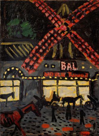 Auguste Chabaud, Moulin Rouge la nuit, 1907, Oil on canvas, 82 x 60 cm © Association des amis du Petit Palais Genève, Image courtesy of Esprit Montmartre at the Schirn Kunsthalle Frankfurt