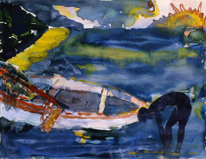 Bearden, Martinique Morning, 1987, Watercolor and collage on paper, 13 x 16.75 inches