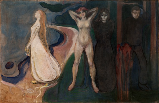 The painting is Edvard Munch's Woman, 1984