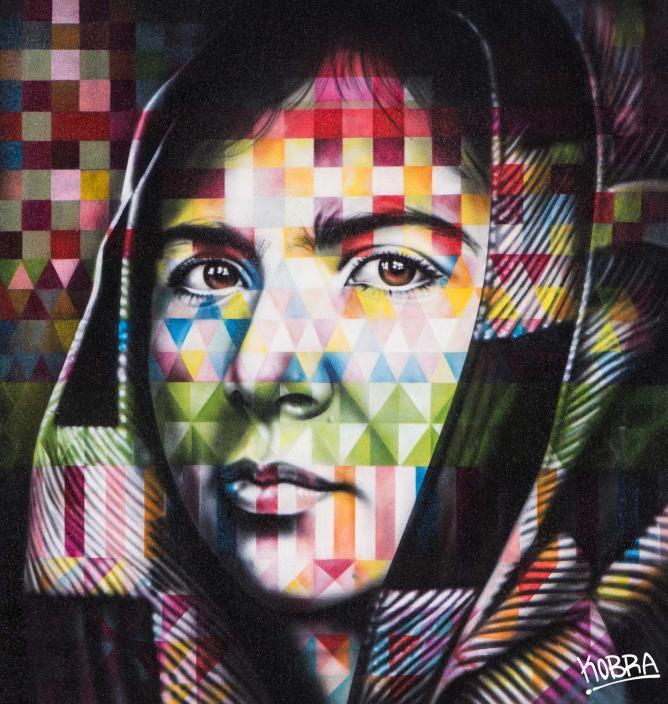 Eduardo Cobra, Portrait of Malala, Spray paint on canvas | Courtesy of Dorothy Circus Gallery
