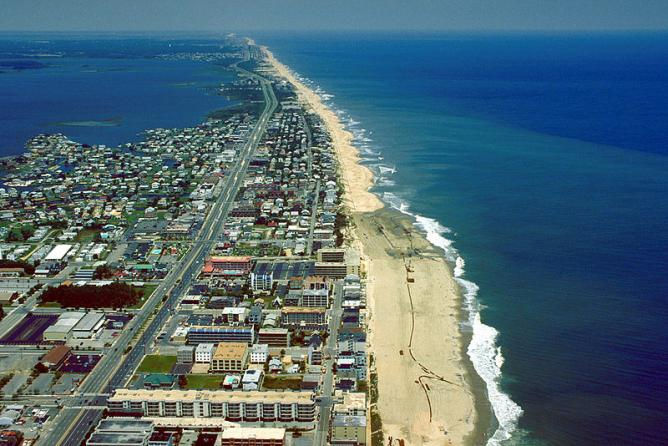 Aerial view of Ocean City, Maryland, USA. View is to the north-northeast.