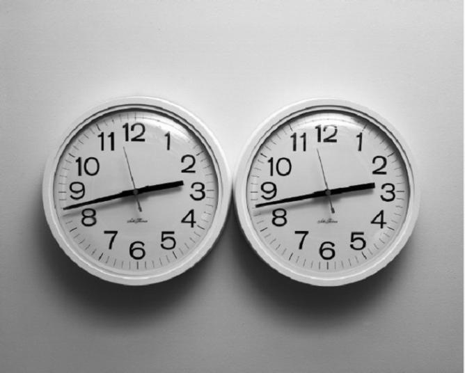 Felix Gonzalez-Torres, 'Untitled (Perfect Lovers)' 1991. Wall clocks andpaint on wall; overall dimensions vary with installation