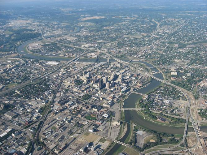 Aerial view of downtown Dayton, Ohio | © Nyttend/WikiCommons