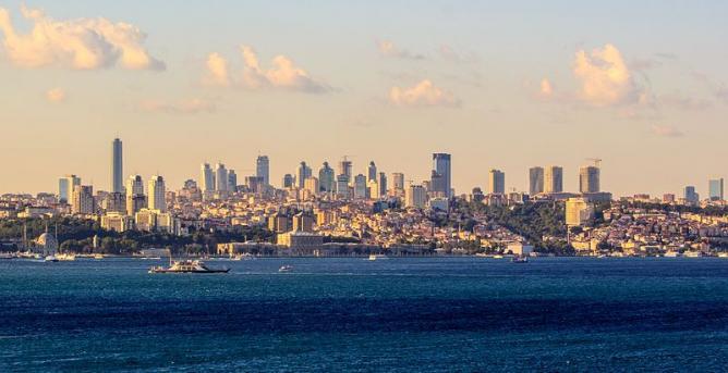 Modern Istanbul skyline at sunset