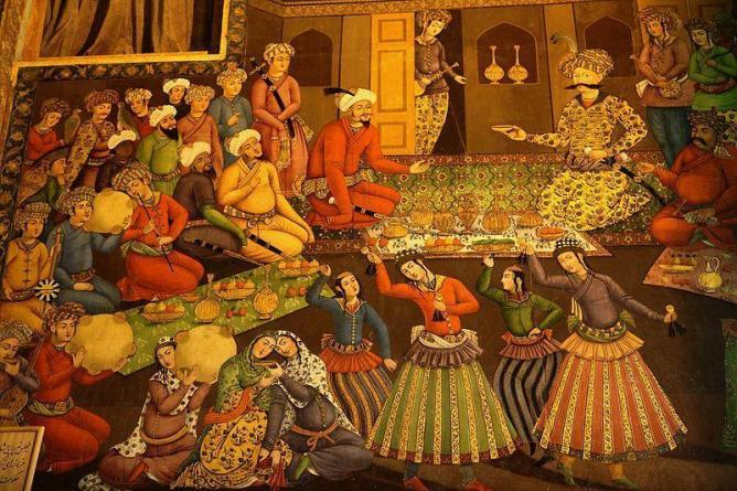 Shah Abbas I and Vali Muhammad Khan. From Chehel Sotoun palace, Isfahan | © Ninara/ Wikicommons