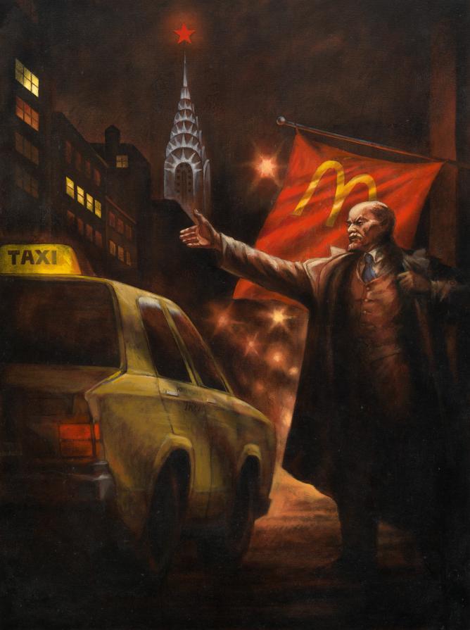 Image Courtesy of MacDougalls | © Komar & Melamid, Lenin Hails a Cab