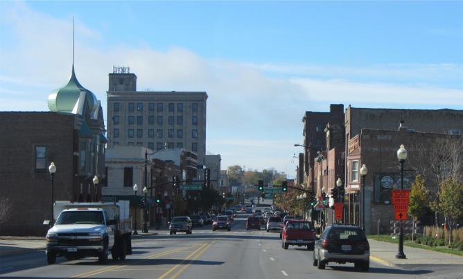 Broadway near Spring Street, Aurora, Illinois