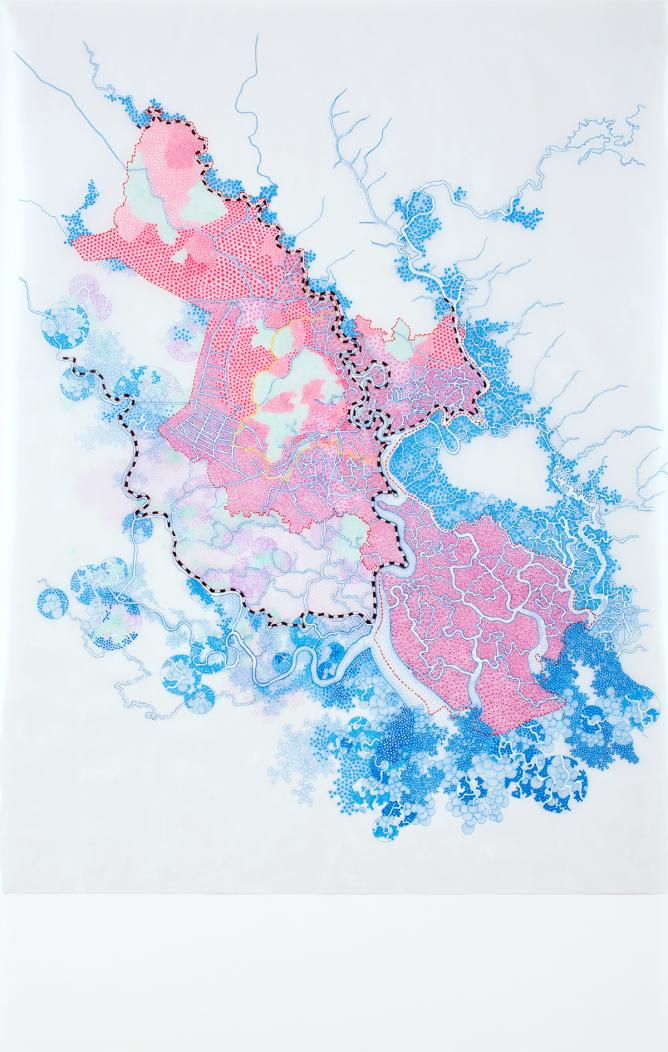 Tiffany Chung, HCMC extreme flood prediction 2050 – ADB & ICEM reports, 2013, micro pigment ink, gel ink, and oil and vellum on paper, 110 x 70 cm | Courtesy Galerie Quynh & Artist