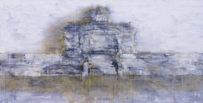 Ha Manh Thang, Hue Citadel Landscape, no. 9, 2014, acrylic, acrylic medium, oil and charcoal on canvas, 100 x 195 cm | Courtesy Galerie Quynh & Artist