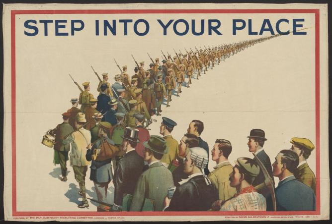 "The British Parliamentary Recruiting Committee, ""Step into your place,"" 1915, Lithograph"