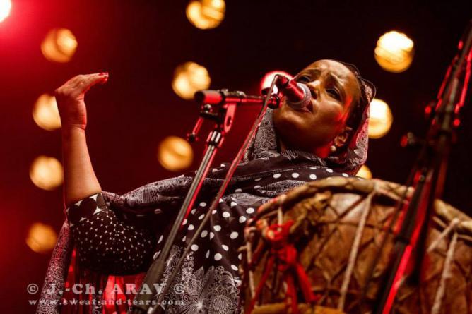 Aziza Brahim singing live on stage