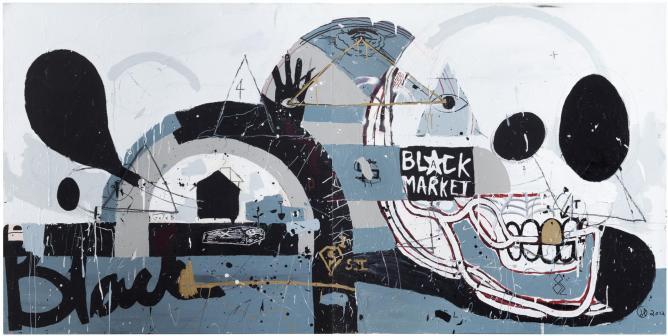 Janni Hänninen, Grave Diggaz, Mixed media on canvas