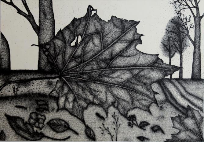 Gintaras Karosas, Autumn, Ink on paper, 29x41 cm