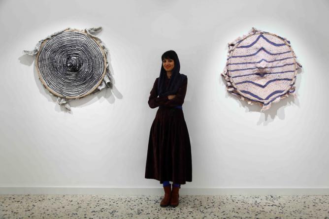 Maryam Ashkani with her work Epitome